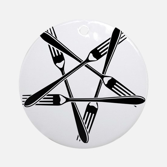 Fork Pentagram Round Ornament