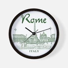 Rome_10x10_v1_Green_Piazza del Popolo Wall Clock