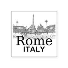 "Rome_12X12_v1_Black_Piazza  Square Sticker 3"" x 3"""