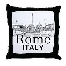 Rome_12X12_v1_Black_Piazza del Popolo Throw Pillow