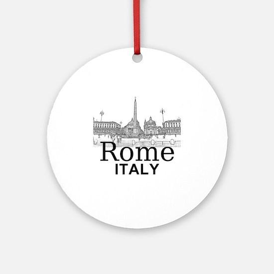 Rome_12X12_v1_Black_Piazza del Popo Round Ornament