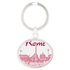 Rome_10x10_v1_Red_Piazza del Popolo Oval Keychain