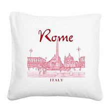 Rome_10x10_v1_Red_Piazza del  Square Canvas Pillow