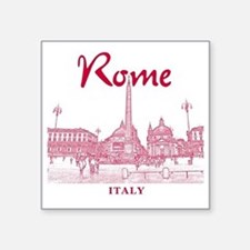 "Rome_10x10_v1_Red_Piazza de Square Sticker 3"" x 3"""