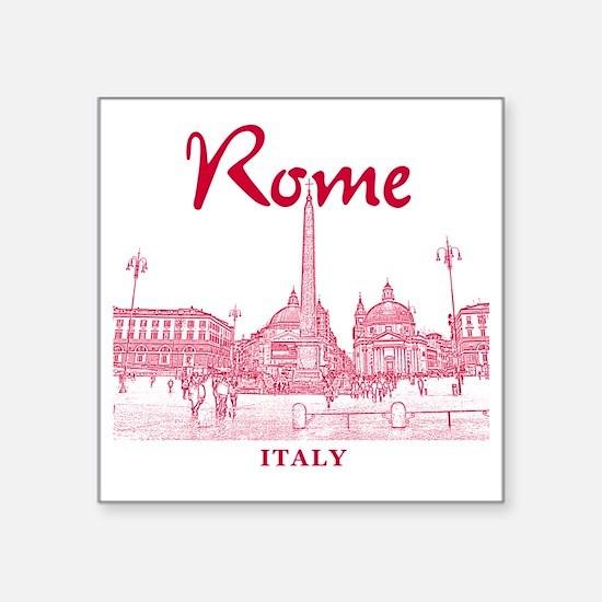 """Rome_10x10_v1_Red_Piazza de Square Sticker 3"""" x 3"""""""