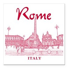 "Rome_10x10_v1_Red_Piazza Square Car Magnet 3"" x 3"""