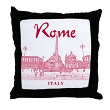 Rome_10x10_v1_Red_Piazza del Popolo Throw Pillow