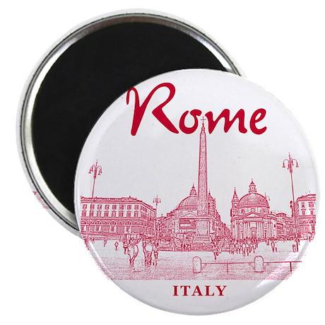 Rome_10x10_v1_Red_Piazza del Popolo Magnet