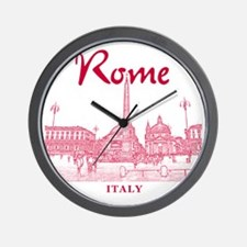 Rome_10x10_v1_Red_Piazza del Popolo Wall Clock