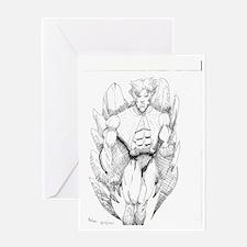Eagle Man Original Drawing  Greeting Card
