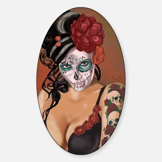 Skulls and Roses Muertos Sticker (Oval)
