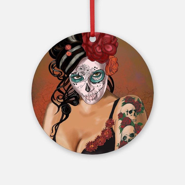 Skulls and Roses Muertos Round Ornament