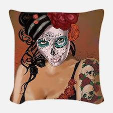 Skulls and Roses Muertos Woven Throw Pillow