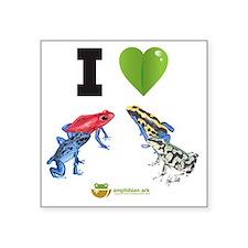 "I heart poison dart frogs Square Sticker 3"" x 3"""