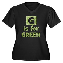 G is for Green Women's Plus Size V-Neck Dark T-Sh