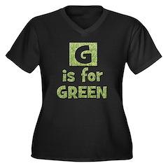 G is for Green Women's Plus Size V-Neck Dark T-Sh