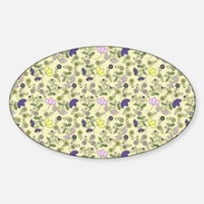 Yellow, Purple and Pink Flowers Sticker (Oval)