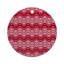 Loops Placemat White Dk Berry Red Round Ornament