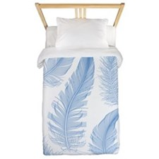 blue feathers, vector drawing Twin Duvet