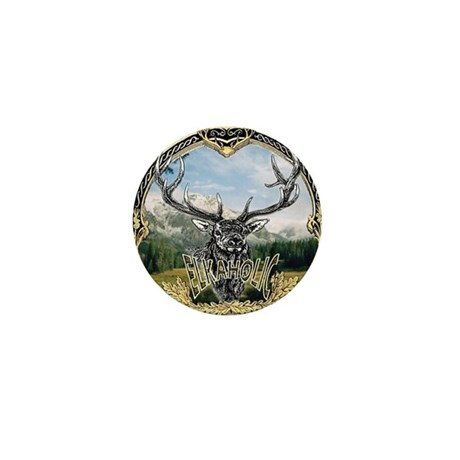 Elkaholic elk hunting logo Mini Button