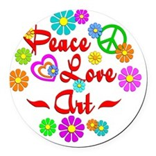 Peace Love Art Round Car Magnet