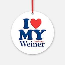 I Love My Weiner Round Ornament