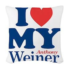 I Love My Weiner Woven Throw Pillow