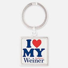 I Love My Weiner Square Keychain