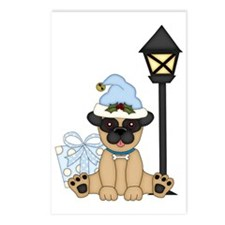 Pug Dog-Xmas 2 Postcards (Package of 8)