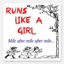 "Runs Like A Girl Miles a Square Car Magnet 3"" x 3"""