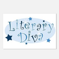 """""""Literary Diva"""" [blue] Postcards (Package of 8)"""