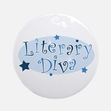 """Literary Diva"" [blue] Ornament (Round)"