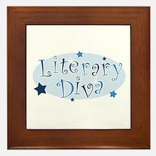 """""""Literary Diva"""" [blue] Framed Tile"""
