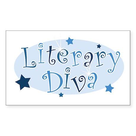 """Literary Diva"" [blue] Rectangle Sticker"