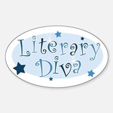 """Literary Diva"" [blue] Oval Decal"