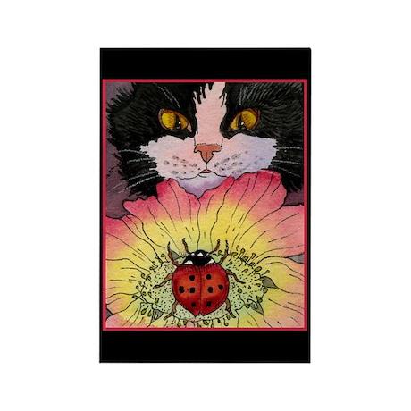 kitty amp ladybug rectangle mag  by ellenmorrowarts