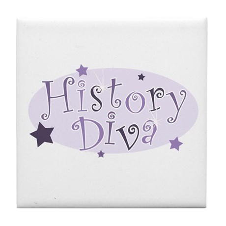 """History Diva"" [purple] Tile Coaster"
