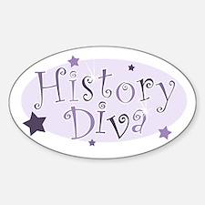 """History Diva"" [purple] Oval Decal"
