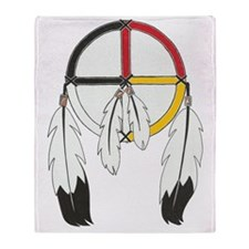 Feathered Medicine Wheel Throw Blanket