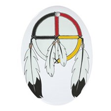 Feathered Medicine Wheel Oval Ornament