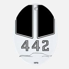 Olds 442 silhouette, logo & stripes Oval Ornament