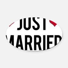 just married with two red hearts Oval Car Magnet