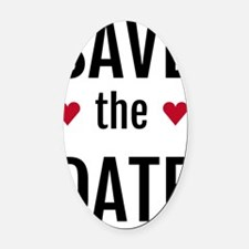 save the date with two red hearts Oval Car Magnet