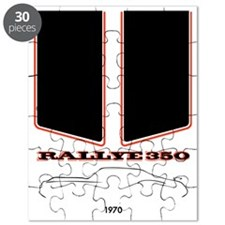 Olds Rallye 350 silhouette, logo & stripes Puzzle