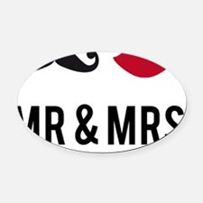 mr and mrs with mustache and red l Oval Car Magnet