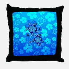 Blue Honu Hibiscus Throw Pillow
