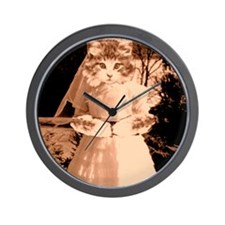 cat wedding Wall Clock