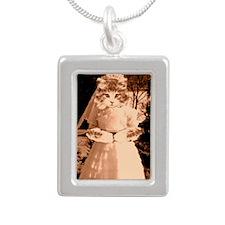 cat wedding Silver Portrait Necklace
