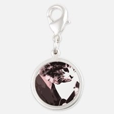 Cat Music Style Silver Round Charm