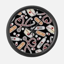 Cute Nurse Supplies Print - Black Large Wall Clock